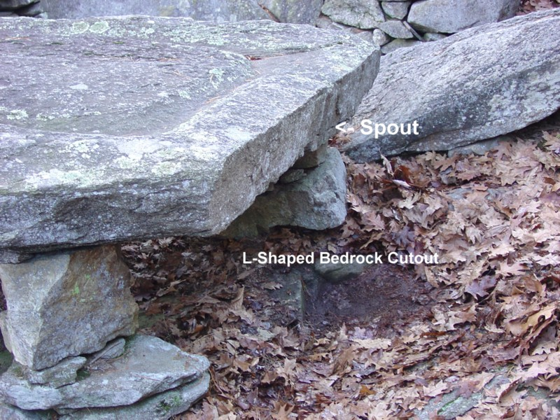 America's Stonehenge - Large Grooved Stone - Spout & L-Shaped Cutout